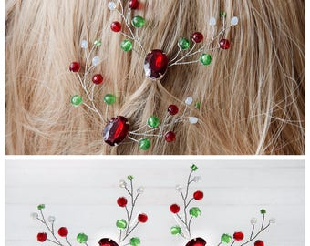 Winter hair pins Christmas Hair Pins Winter Hair Accessories Christmas Bobby Pins Christmas hair clip Christmas party Bridal winter hairpins