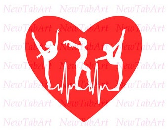 Gymnastics SVG Heartbeat svg Sports svg Svg files for cricut Svg files for Silhouette Vector cut files svg dxf eps png Svg files Heart svg