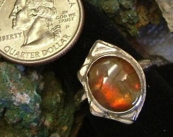 Ammolite Ring Large Sterling Silver OOAK Utah Gem Boho Statement Ring Size 10 1/4 Red Orange Fire  231 G