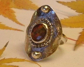 Ammolite Saddle Ring Size 7 Sterling Silver Handmade Large Utah Gem Fossil Statement Ring Statement Jewelry Red Fire 333G