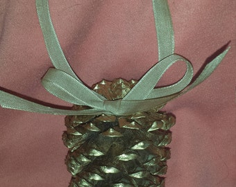 Painted Pine cone Christmas ornament, color and ribbon optional