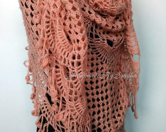 Hand Knit Wool Pink Crochet Hippie Shawl Wraps Lace Mohair Romantic Off Shawl Gift for Wife Fringe Bridal Wedding Gold Mohair Triangle shawl