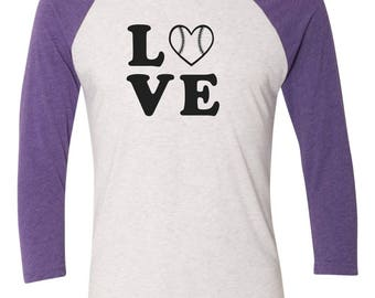 Baseball Love T-Shirt/3/4 Sleeve Baseball Style Tee- Custom Black Love w/ heart design