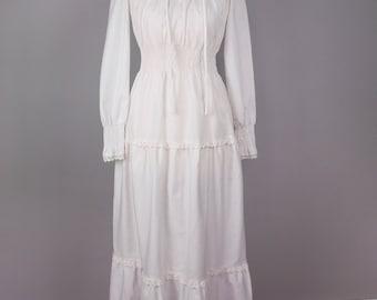Vintage 70s Boho Wedding Dress - Long Sleeves