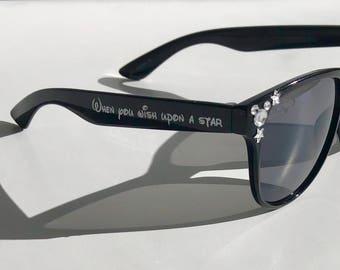 "Black Sunglasses-Customizable Gems-""When you wish upon a star"" Sunglasses"