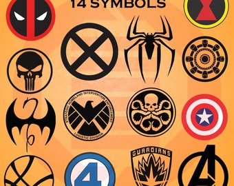 Avengers SVG decal clipart simbolos Vengadores cricut cutting files logo superhero symbol Iron man Captain america Shield Spiderman cosplay