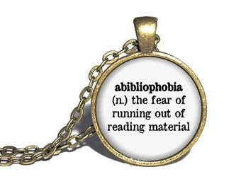 Abibliophobia Definition Necklace, Reader Necklace, Reader Jewelry, Book Necklace, Reader Gift, Bookworm Gift, Librarian Necklace