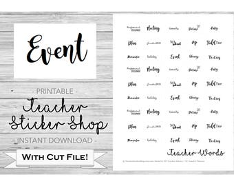 Teacher Calligraphy Stickers PRINTABLE for Teacher Planner with Cut File - for Erin Condren, Happy Planner, Bullet Journal, Plum Paper, etc