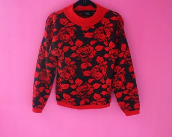80s Red Roses Mock Turtleneck Pullover Sweater