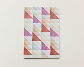 Notebook A6 Geometric Dotted Paper Pink Orange Coral