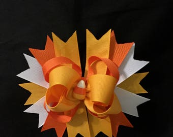 Candy Corn Embellished Thanksgiving Hair Bow