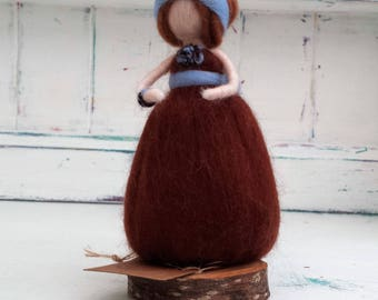 Needle Felted Fairy, Waldorf Inspired, Figure, Brown and Blue figure, Angel, Ornament, Felted Fairytail Doll, Faerie, Fairie, Figurine
