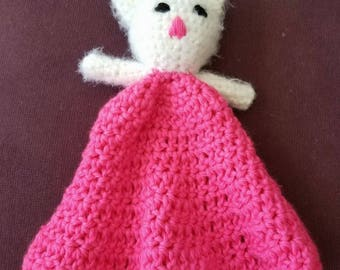 Baby Lovey/ Feminist Nursery/ Baby's first doll/ Blanket doll/ Riot the Pussy Cat/ Baby shower gift