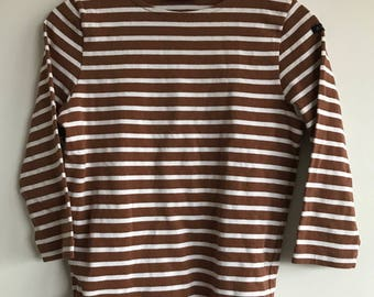 Authentic French Breton Shirt/ Size S/sea-wear/work wear/kabigs/breton/peacoat/bleu de travail/chore coat/marine-wear/Sanfor/sailingB1