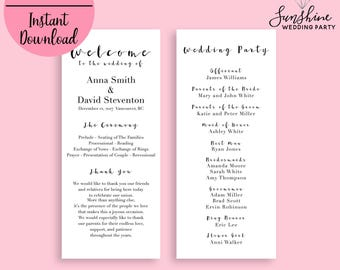 Wedding Program, Ceremony Program, Wedding Program Template, Printable Wedding Programs, White Wedding Program, Instant Download, Editable