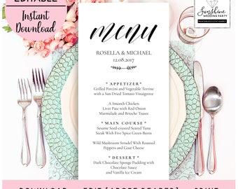 Wedding Menu Template, Wedding Menu Template, Wedding Menu Printable, Wedding Menu Cards, Table Menu, Menu Sign, PDF Instant Download, menu