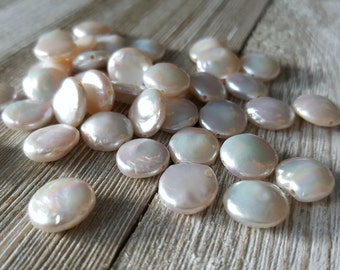 Ivory White Small Freshwater Coin Pearl Beads 10mm