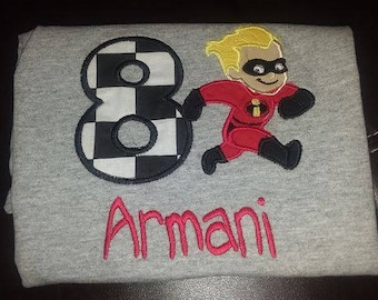 Personalized Embroidered Dash Incredibles Birthday Shirt/Onesie Name Age