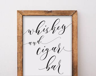 Whiskey And Cigar Bar Sign Printable Download