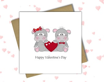 Hippo Love Card, Valentine's Card, Valentine Card, Valentine's Day Card, Greetings Card