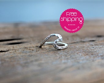 Stackable Rings.sterling silver.wave ring.stacking rings.hammered band.hammered ring.hammered wave.waves.wave rings (Hammered Wave Ring)
