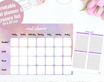 Meal Planner Printable in A4 & A5 Size + Grocery List l Weekly Meal Planner l Food Plan l Meal Plan l Instant Download l Meal Planning