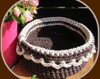 Round basket, basket, Brown and beige crochet Zpagetti