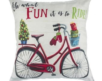 Oh What Fun It Is To Ride Bicycle Holiday Pillow