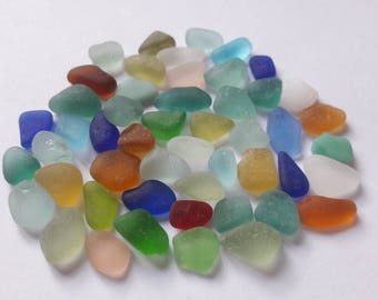 50 mini assorted color sea glass / sea glass french