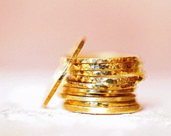 Gold Stacking Rings Dainty Stacking Ring Super Thin Gold Rings Hammered Gold Rings Set Stacking Rings Stackable Ring Simple Gold Ring Stack