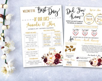 Wedding infographic etsy for Wedding program info