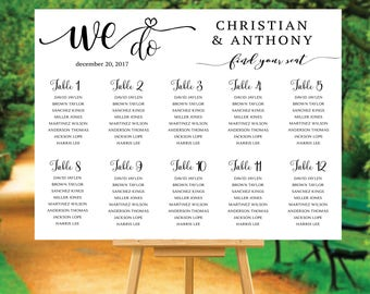 Wedding seating chart template, Wedding Seating Chart, Wedding seating poster, Navy seating chart, Seating chart, Alphabet chart, #118