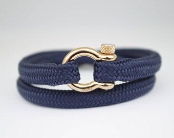 DOUBLE NAVY BLUE & gold   Sailing bracelet - Custom and Handmade