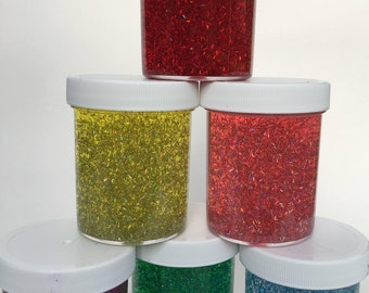 Rainbow Glitter Slime Package (set of 6) Holographic Slime, Glitter Slime, Clear Slime Therapy Tool Party Favor, Extras Included