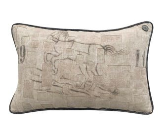 "Antique German Grain Sack Pillow from 1911 -  21"" x 14"""