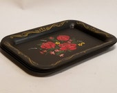 Vintage Black Metal Trinket Tray with Red Roses, Rectangular Edged in Gold Swirl