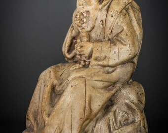 St Jerome Statue | RARE Pipe Clay Saint Figure | Antique Unique Figurine