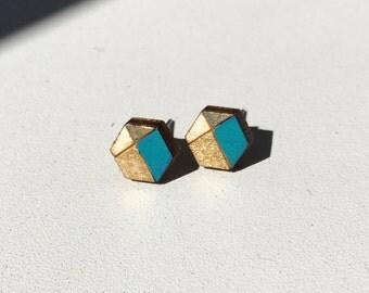 Geometric | Hand painted stud earrings
