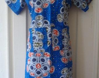 Ankara Shift Dress/ African print dress/Ethnic print dress/ Ankara dress/ shift dress/ Dress/ Blue Dress