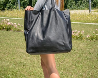 Leather weekender bag, tote bag, Black large tote, leather tote bag, black tote,  Tote bag leather, Tote bag, Leather Bag - TORINO XXL Bag
