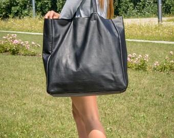 Leather weekender bag, tote bag, Black large tote, leather tote bag, black tote,  Tote bag leather, Tote bag, Leather Bag - TORINO XXL Bag