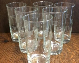 Vintage HIGHBALL GLASS TUMBLERS in Windsor Pattern by Libbey Glass Co. (Set of 5)