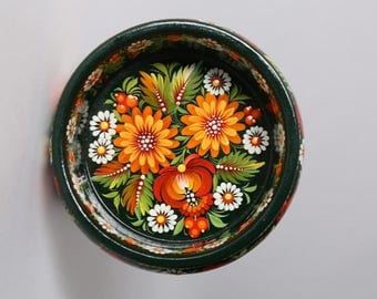 Wooden candy bowl with orange flowers
