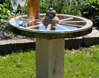 Coffee Table - Beautiful glass cartwheel coffee table, rotating.