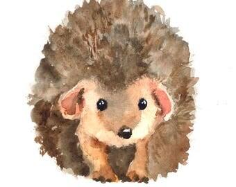 Hedgehog art print , nursery woodland animal , watercolor hedgehog painting , forest animal art print , digital print download