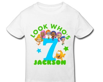 Bubble Guppies Birthday Shirt with custom age and name-Personalized Birthday T-shirtBirthday-1st, 2nd, 3rd, 4th, 5th Birthday-Fast Shipping!