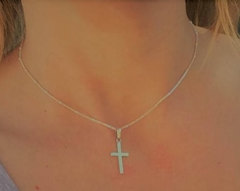 Sterling silver Cross Necklace, Cross Necklace, rosary bead necklace, confirmation necklace, confirmation cross, silver bead neckalce