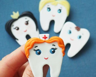 Cute Lovely Tooth Brooch/ handmade polymer clay jewelry Pin girl tooth boy/ gift for dentist