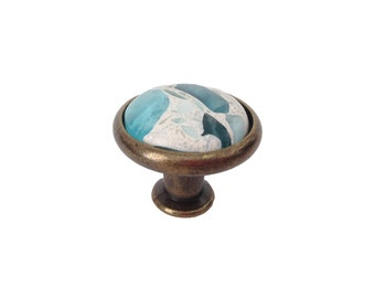 Vetrazzo Floating Blue  Knob - Burnished Brass