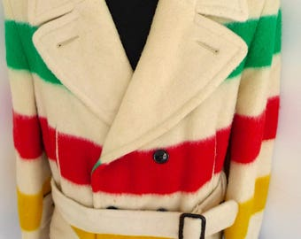 Superb Classic HUDSON BAY Co HBC 4 Point Wool Blanket Coat Striped Jacket Pea sz L